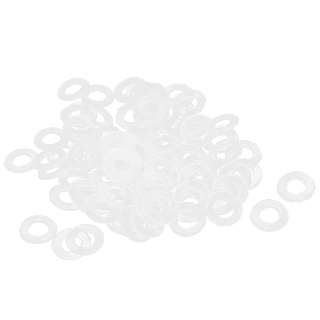10mm x 5mm x 1mm Nylon Flat Insulating Washers Spacer Gasket Clear 100pcs