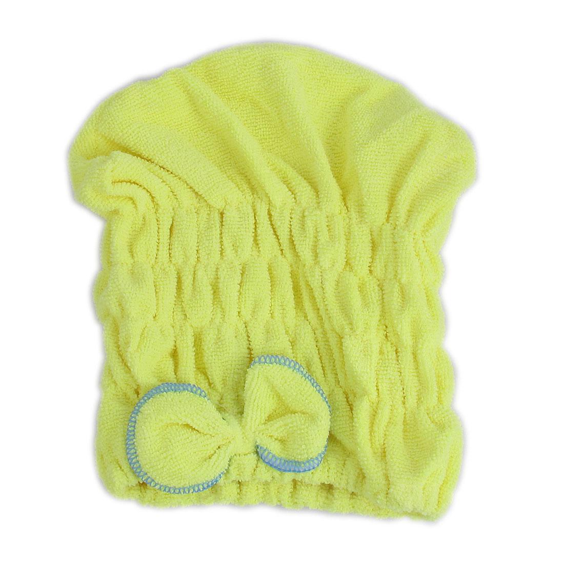Lady Gym Travel Swimming Shower Yellow Microfibre Elastic Hair Fast Dry Drying Cap Turban Towel