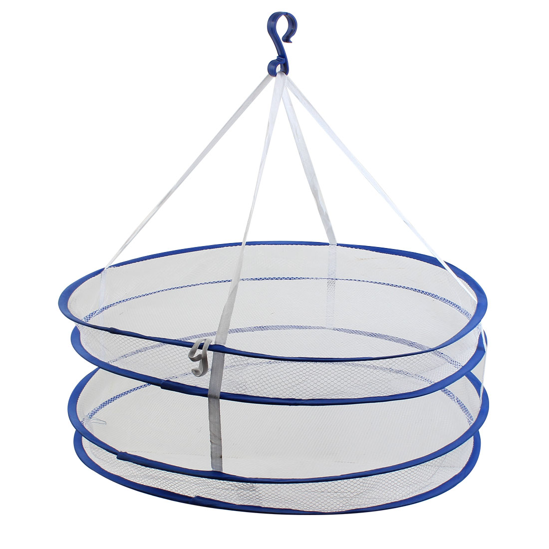 Household Double Layers Folding Windproof Clothes Sweater Laundry Basket Dryer Rack Hanging Hanger Net 57cm Dia