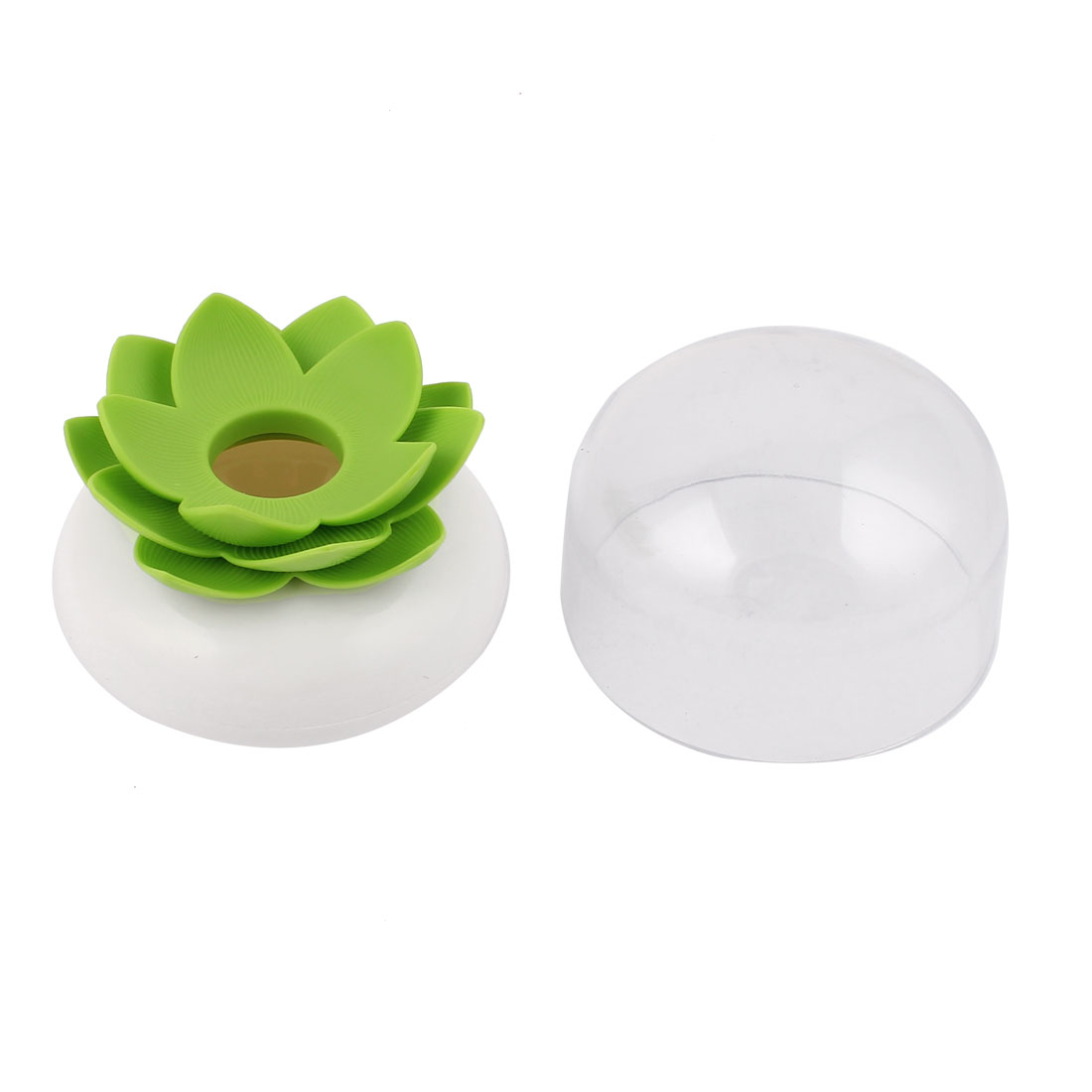 Household Green Lotus Flower Vase Cotton Bud Case Toothpick Holder Swab Storage Box White