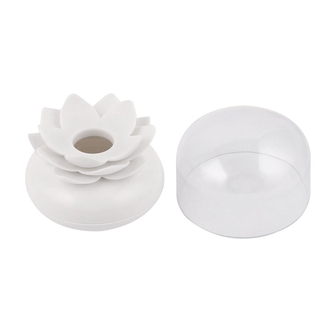 Household Lotus Flower Vase Cotton Bud Case Toothpick Holder Swab Storage Box White