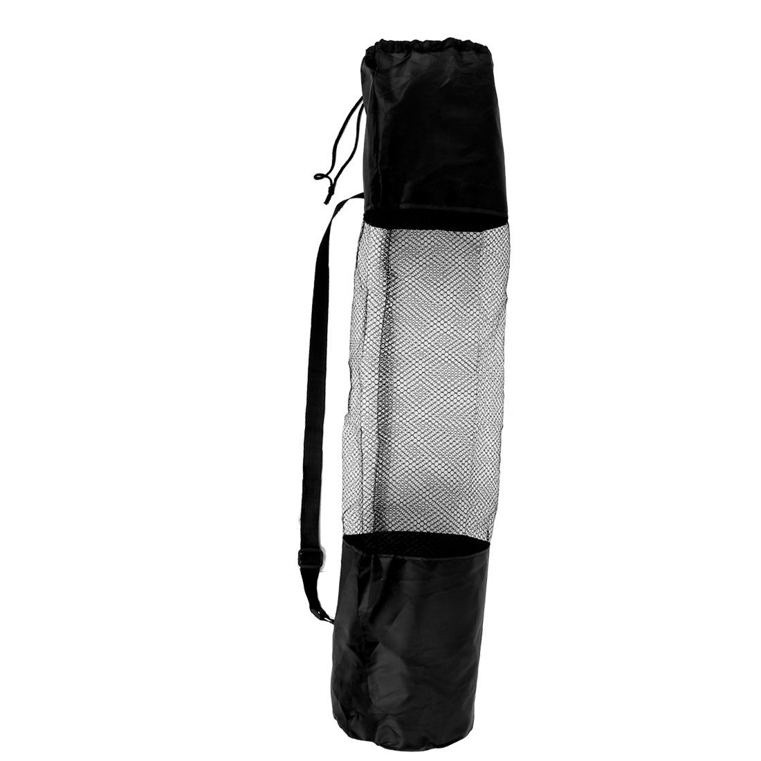 Adjustable Strap Black Nylon Drawstring Yoga Pilates Mat Pad Center Mesh Net Carrier Bag 67cm x 22cm