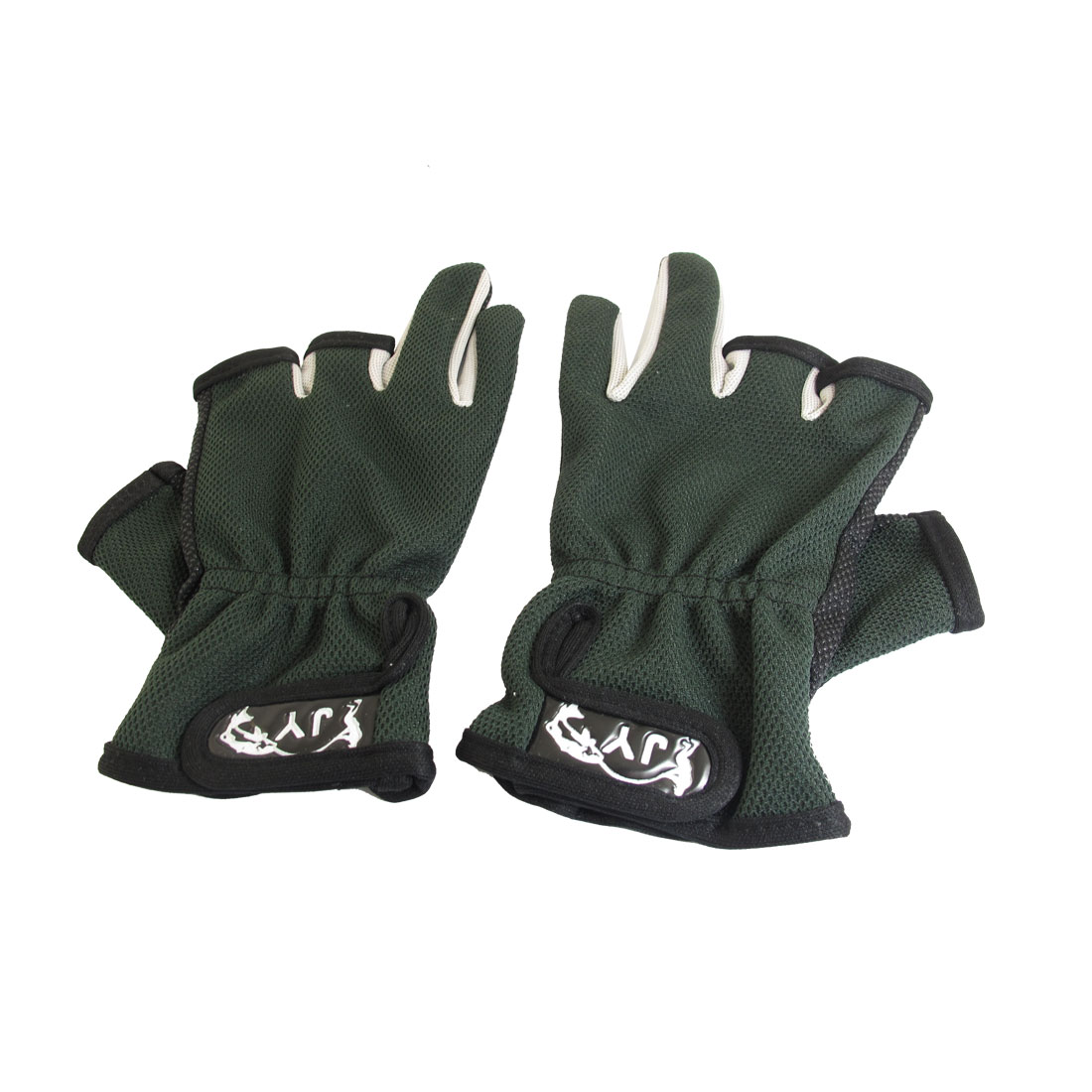 Pair 3 Cut Finger Dark Green Black Antislip Dots Palm Hook Loop Closure Fishing Gloves