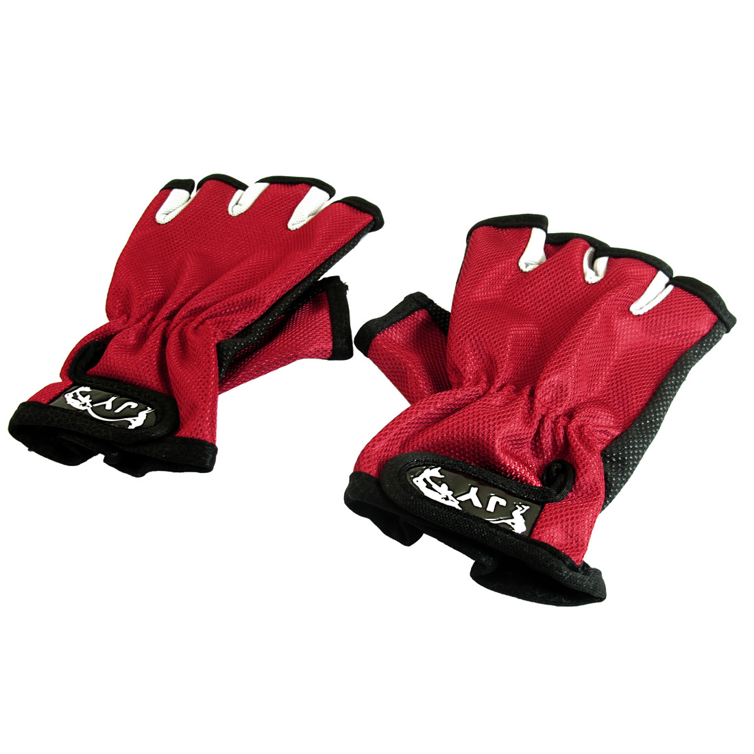 Pair Hook Loop Fasten 5 Half Finger Nonslip Dotted Palm Fishing Gloves Red Black