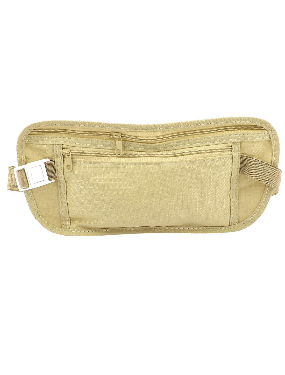 Men Adjustable Elastic Strap 2 Compartments Zipper Closure Khaki Nylon Waist Bag Pack Pouch