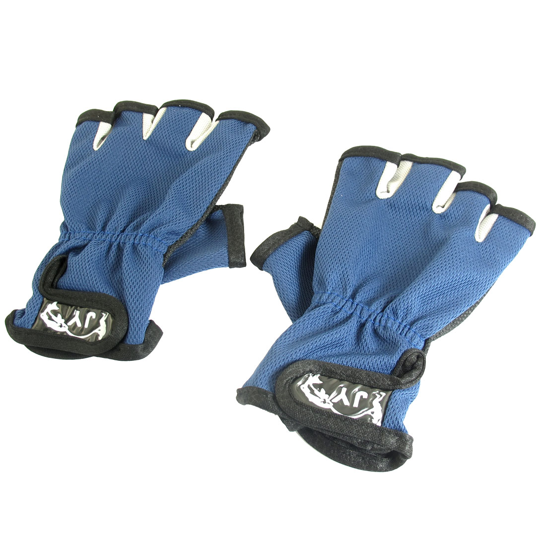 Fisherman Hook Loop Fastener Half Finger Antislip Dots Palm Fishing Gloves Blue Black Pair