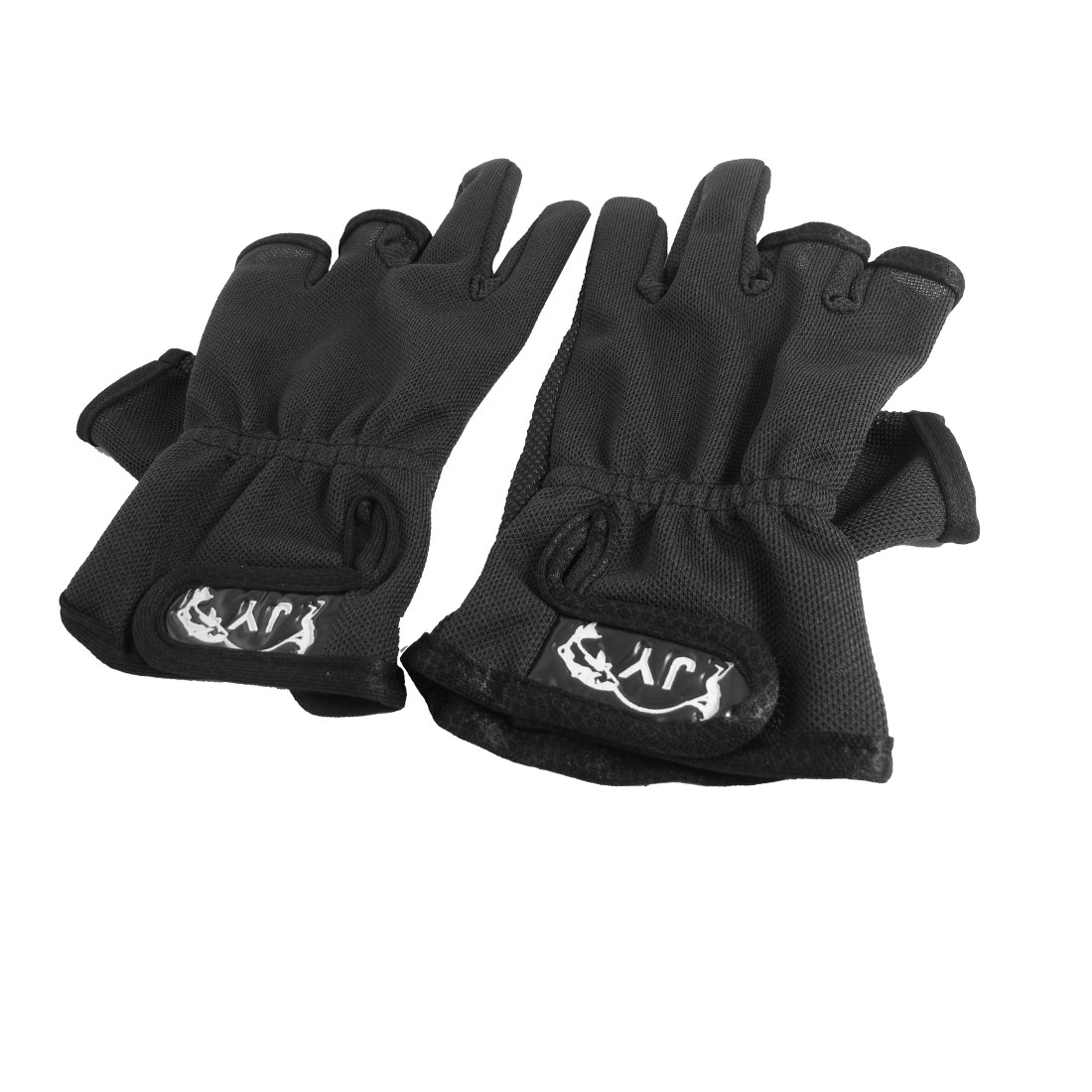 Pair Hook Loop Closure 3 Cut Finger Antislip Dots Palm Fishing Gloves Black for Fisherman