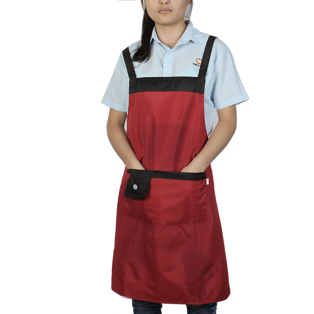 Household Kitchen Waterproof Black Red Cooking Apron Bib Dress w Pockets