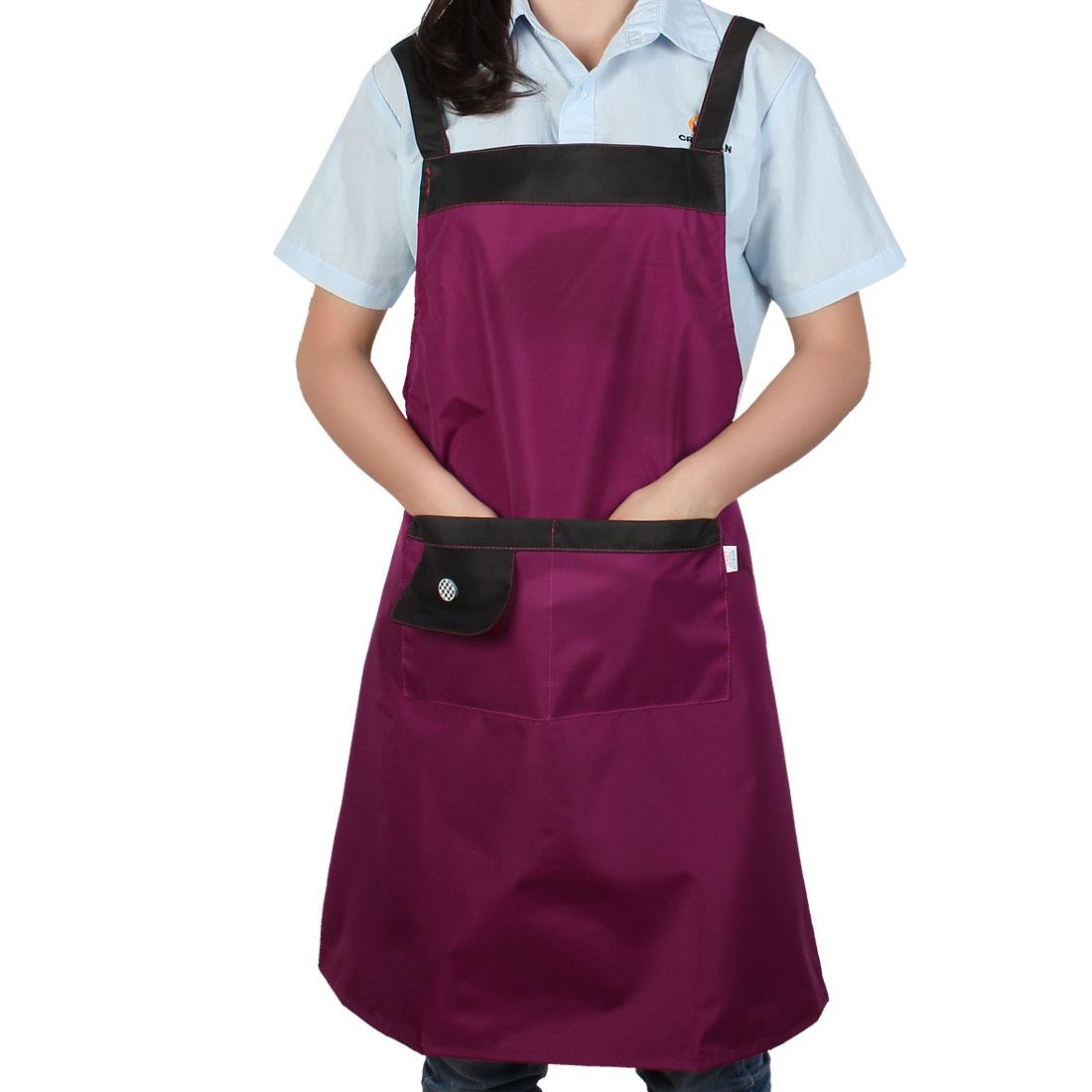 Household Restaurant Kitchen Waterproof Fuchsia Cooking Apron Bib Dress w Pockets