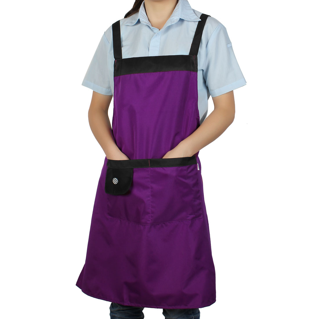 Household Restaurant Kitchen Waterproof Black Purple Cooking Apron Bib Dress w Pockets