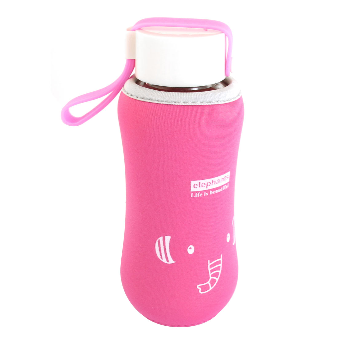250ML Travel Mug Pink Nylon Protect Sleeve Shatterproof Hand Portable Water Bottle Glass Cup