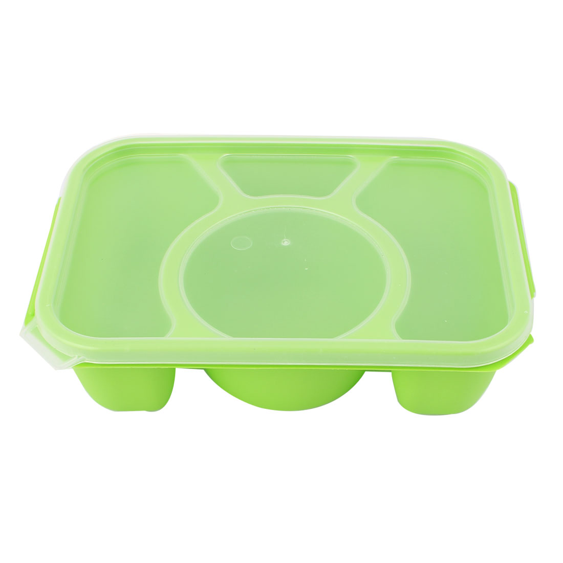 Clear Lid 4 Slots Green Plastic Vacuum Bento Crisper Food Storage Box Lunch Case Container