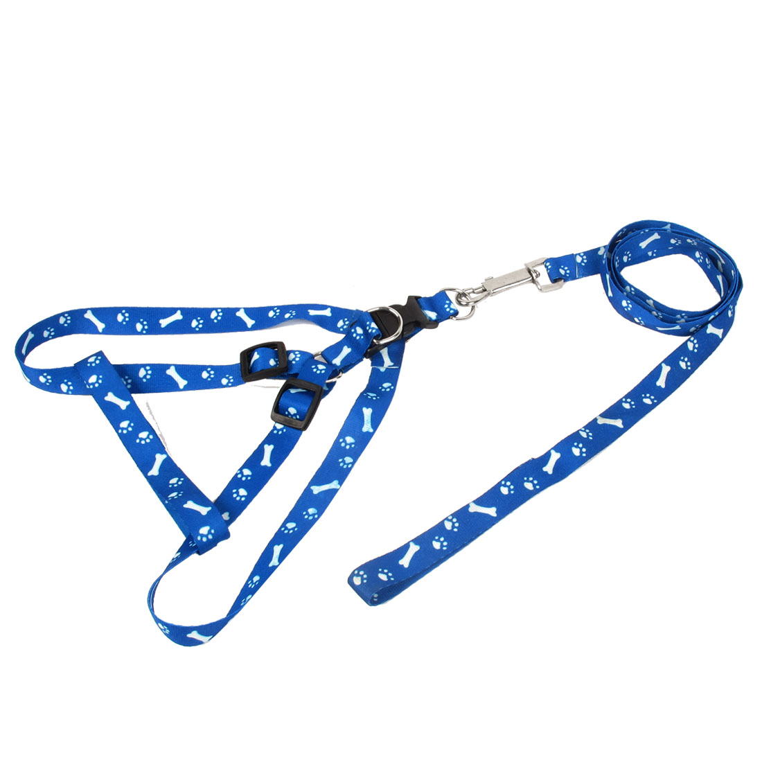 Release Buckle Trigger Hook Pet Cat Puppy Adjustable Belt Harness Leash Blue