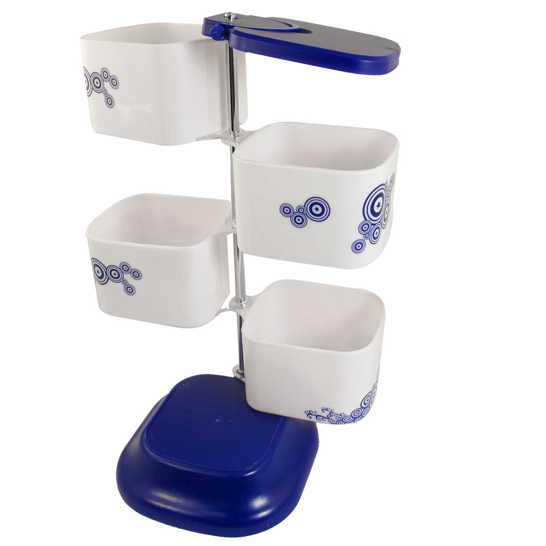 Kitchen Blue Circle Star Print White Plastic 4 Compartments Mug Spices Container Condiment Holder Case w Spoons