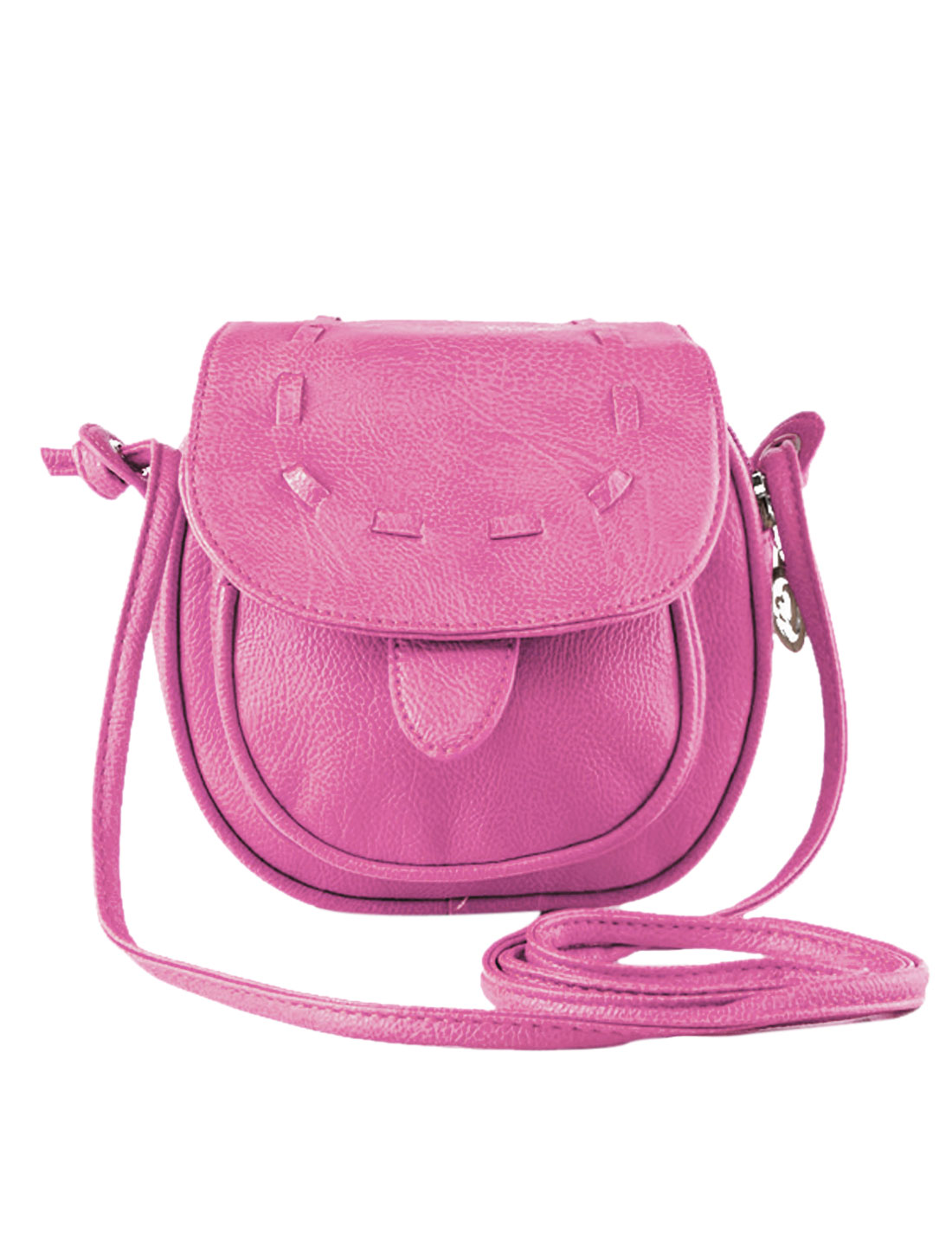 Women Flaptop Contrast Stitching Faux Leather Crossbody Bags Fuchsia