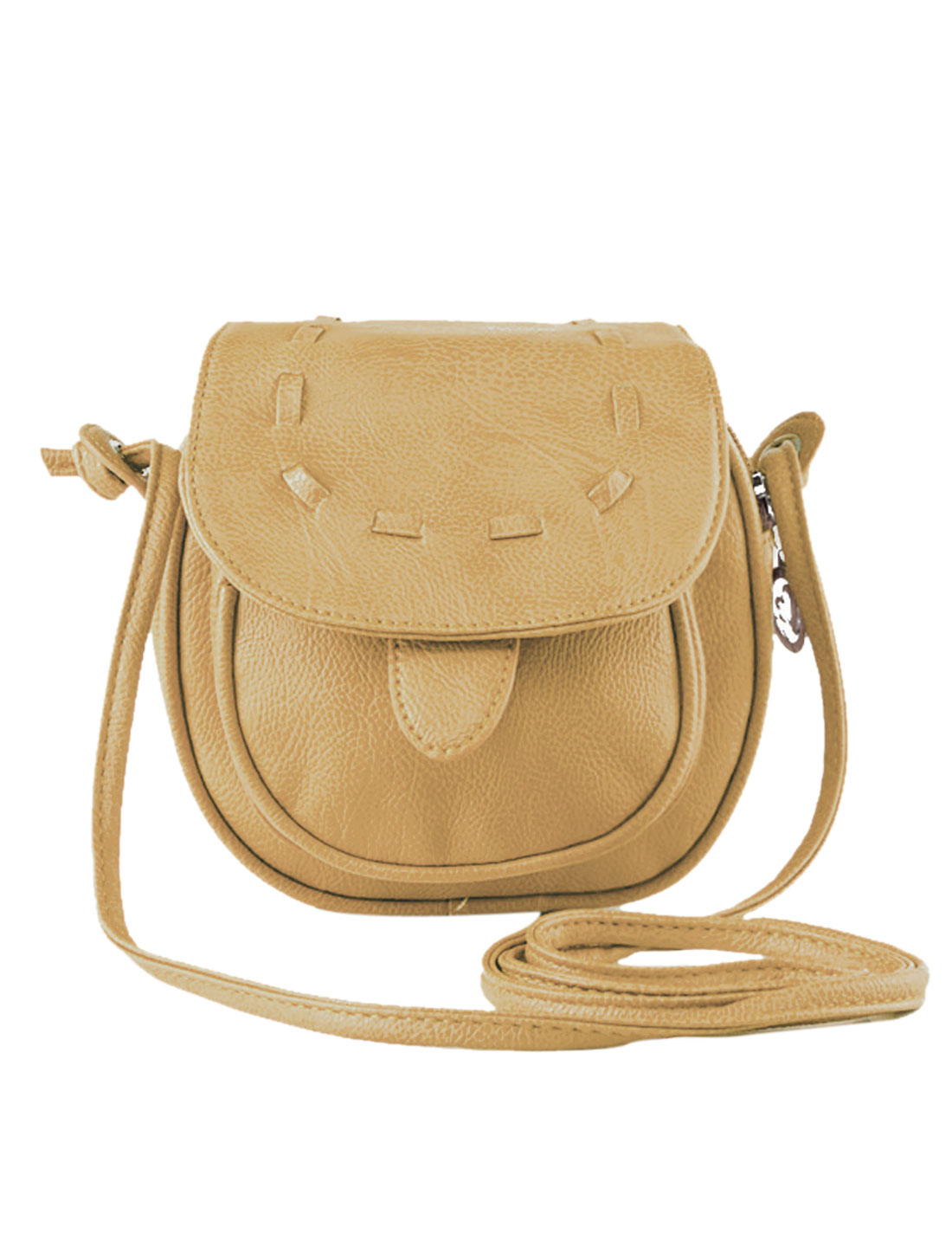 Women Snap Button Fastening Flaptop Mini Faux Leather Crossbody Bags Khaki