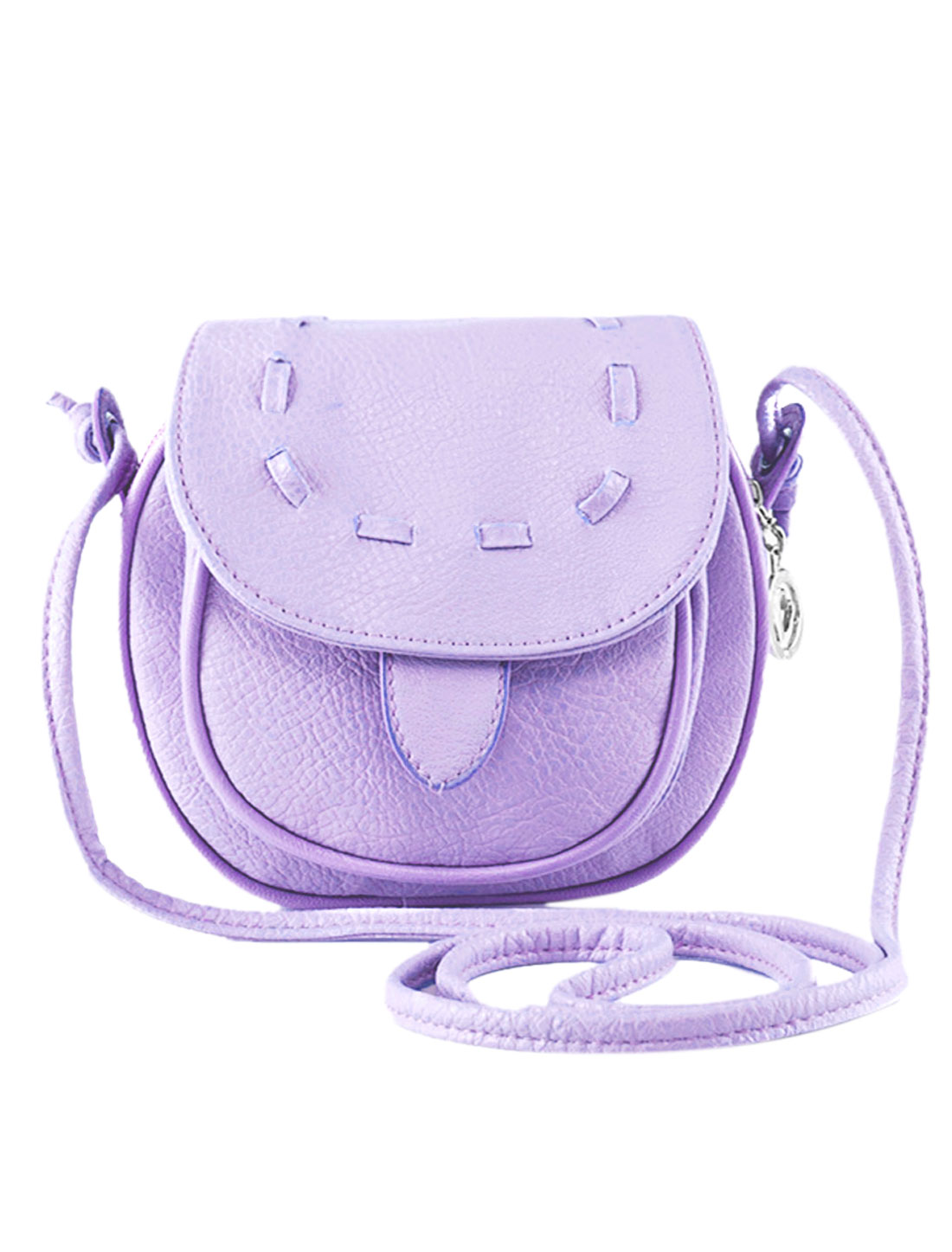 Ladies Round Edge Flaptop Stitching Faux Leather Crossbody Bags Lilac