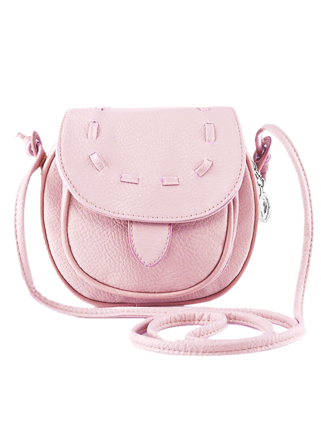 Lady Flaptop Straps Stiching Mini Faux Leather Crossbody Bag Pink