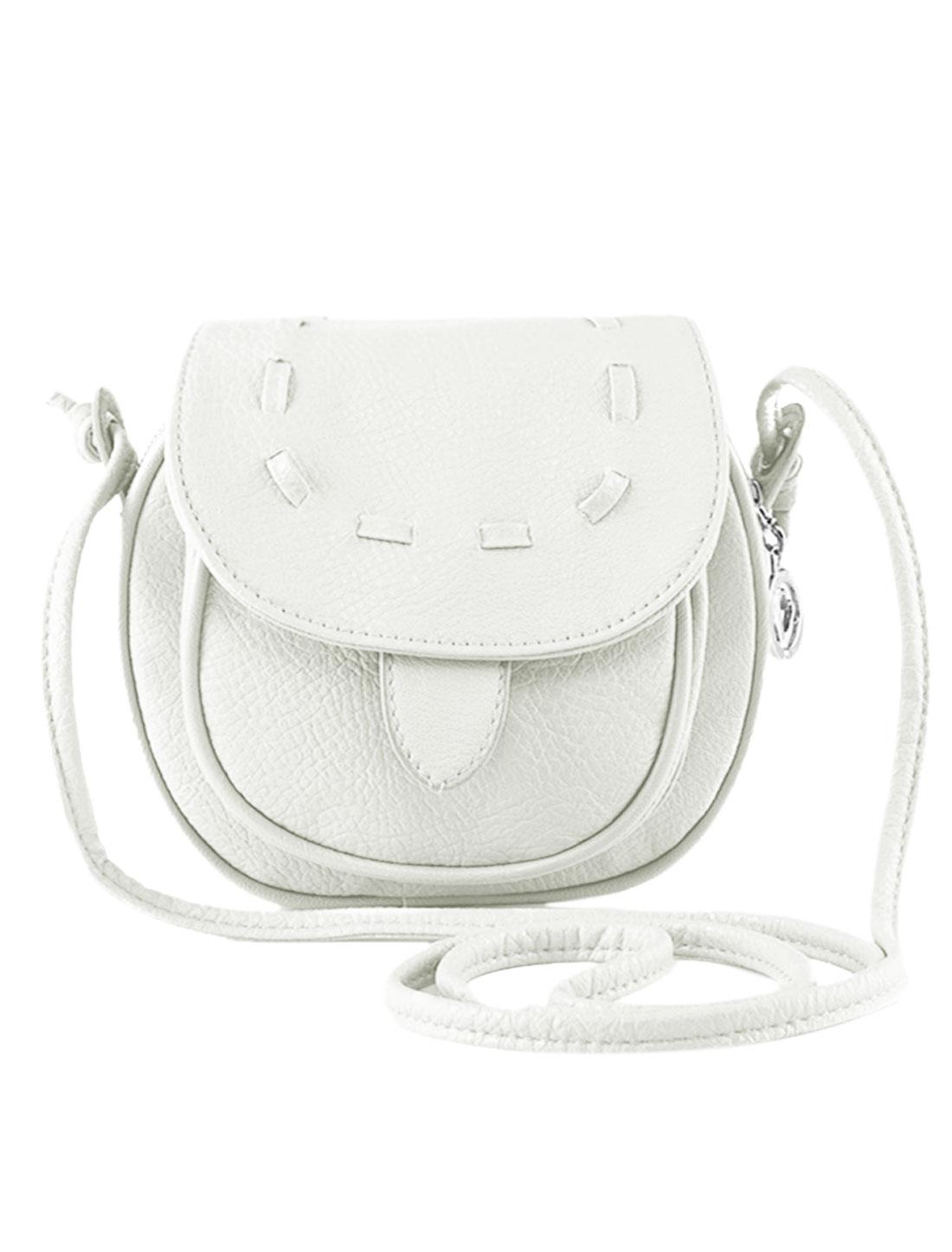 Women Straps Flaptop Stitching Round Edge Mini Crossbody Bags White