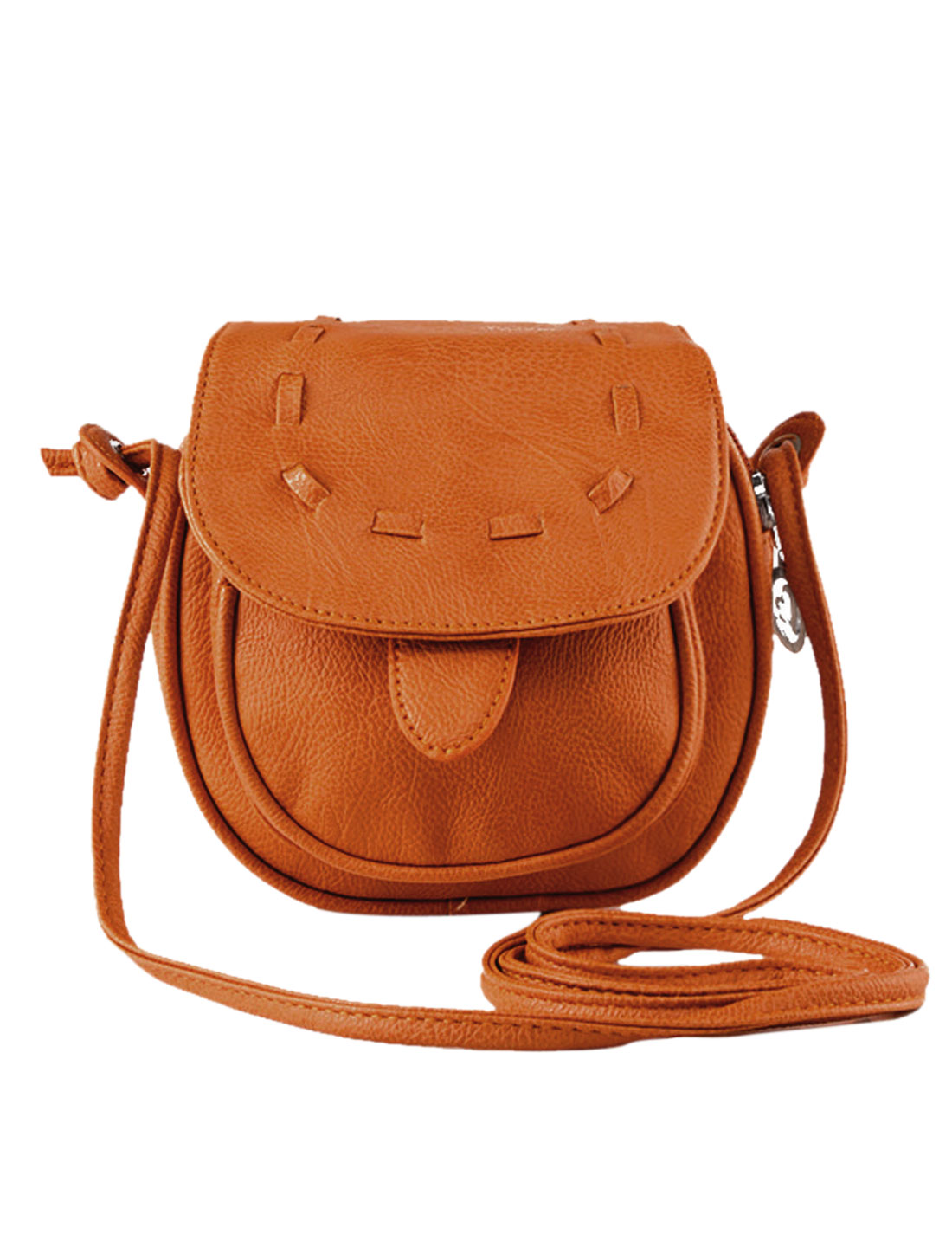 Lady Stitching Flaptop Snap Button Fastening Faux Leather Crossbody Bags Brown