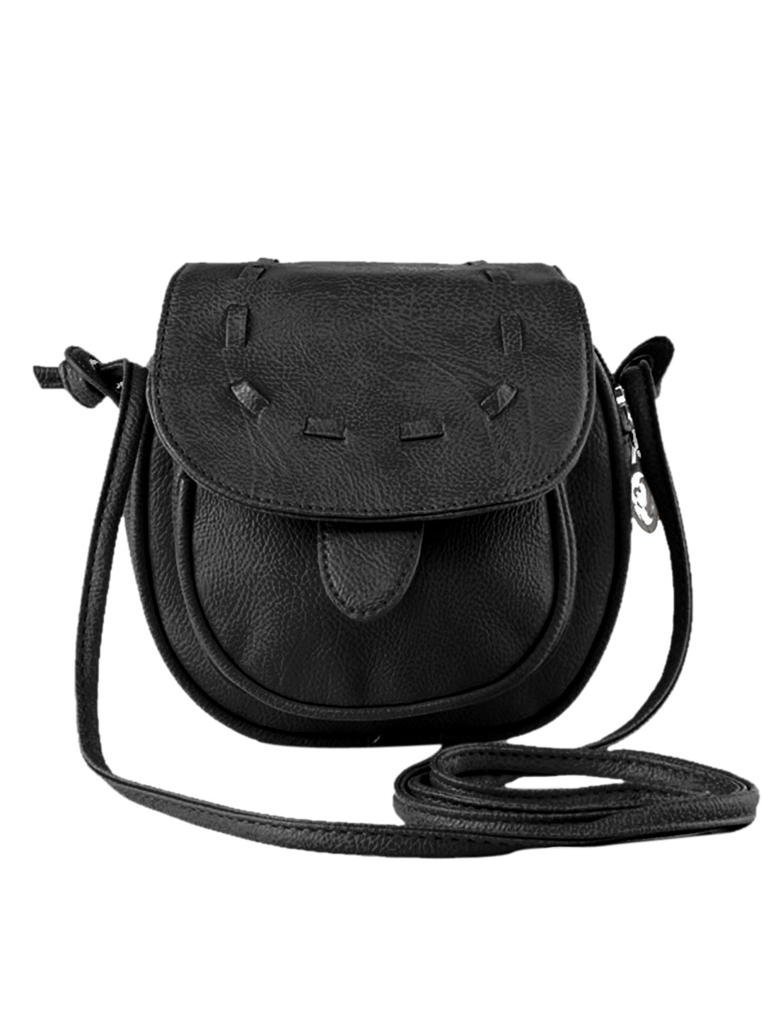 Lady Zippered Snap Button Fastening Faux Leather Crossbody Bags Black