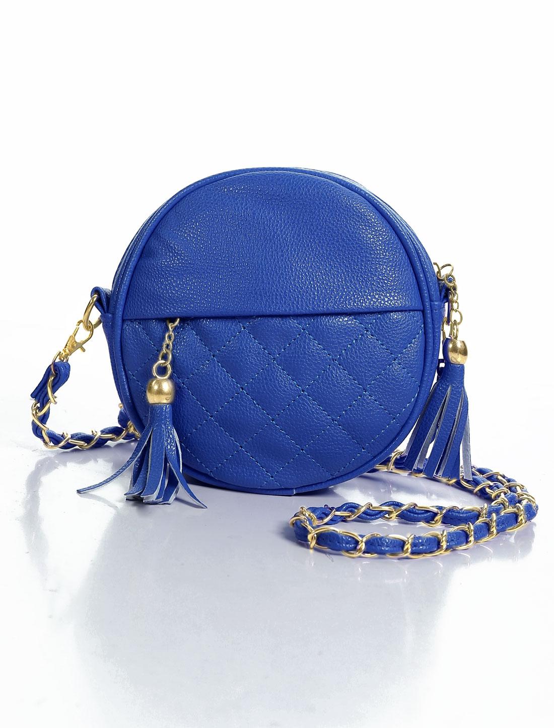 Women Zipper Closure Interior Letters Prints Crossbody Bags Navy Blue