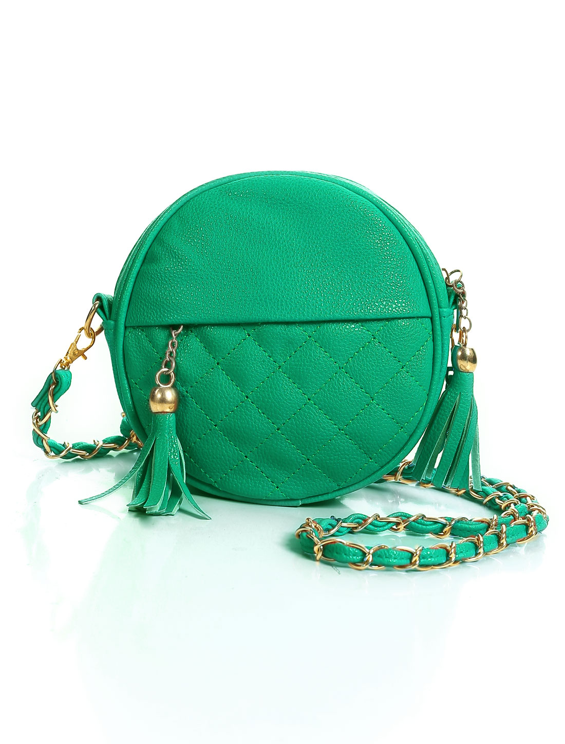 Ladies Zipper Closure Tassels Decor Chain Strap Crossbody Bag Dusty Green