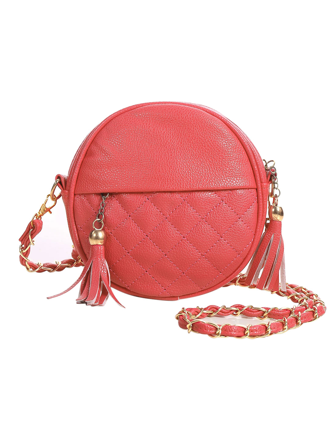 Ladies Zipper Closure Tassels Decor Check Design Chain Strap Casual Bags Salmon