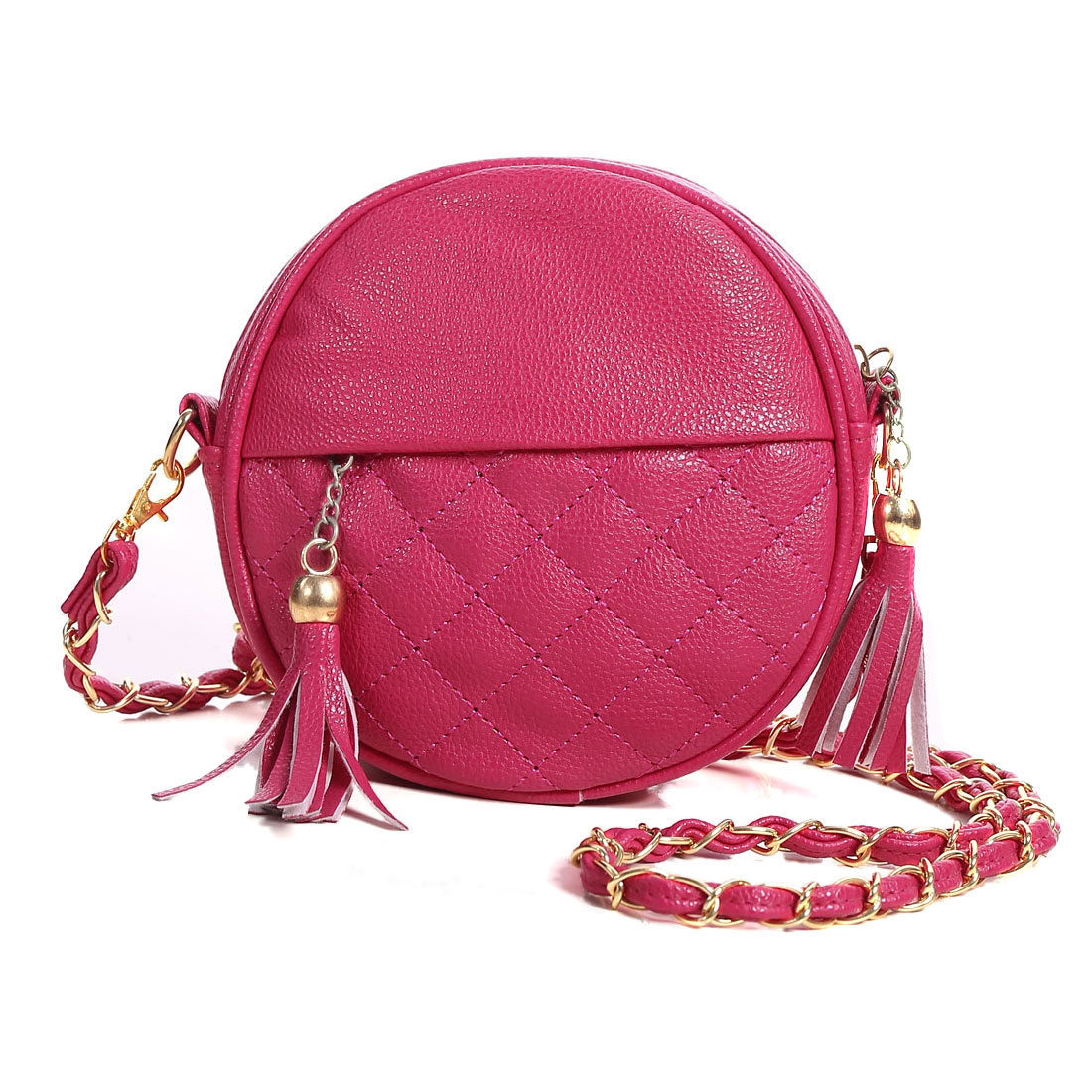 Women Zipper Closure Tassels Decor Chain Strap Casual Bag Fuchsia