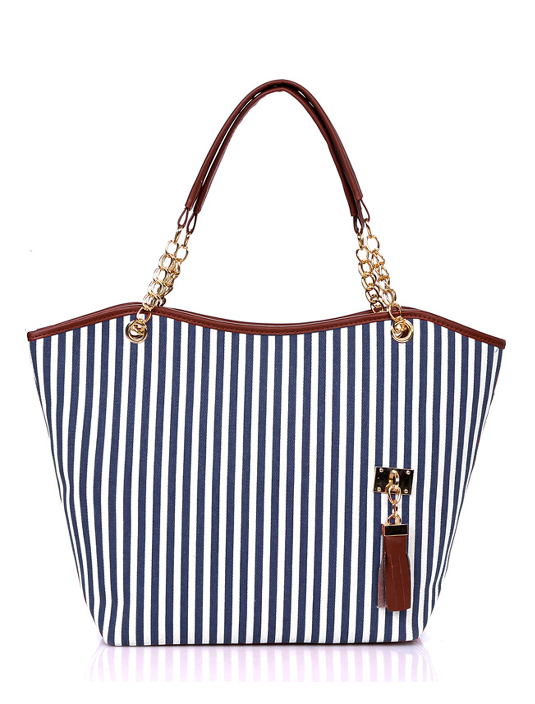 Women Vertical Stripes Faux Leather Panel Tassels Decor Tote Blue White