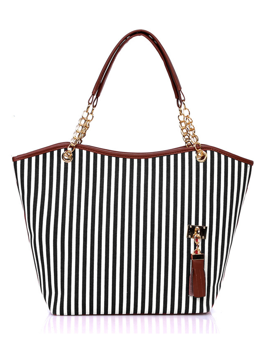 Woman Vertical Stripes Chain-Adorned Strap Tassels Decor Tote Black White