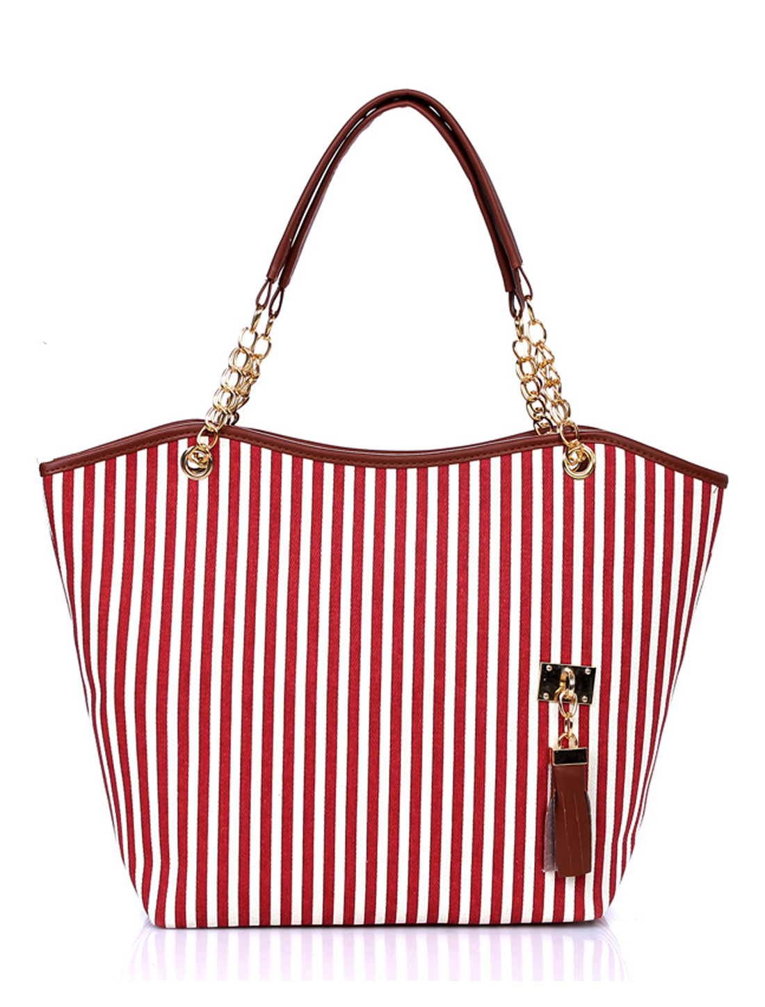 Woman Vertical Stripes Faux Leather-Trimmed Tassels Decor Tote Red White