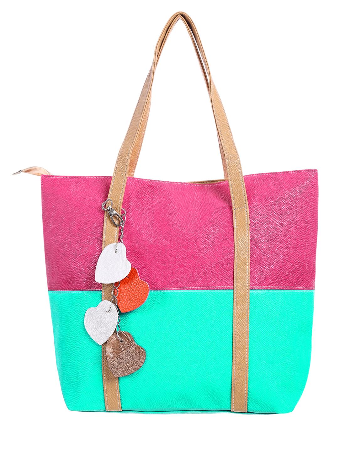 Women Color Block Dual Handles Zippered Top Casual Tote Bags Dark Mint Fuchsia