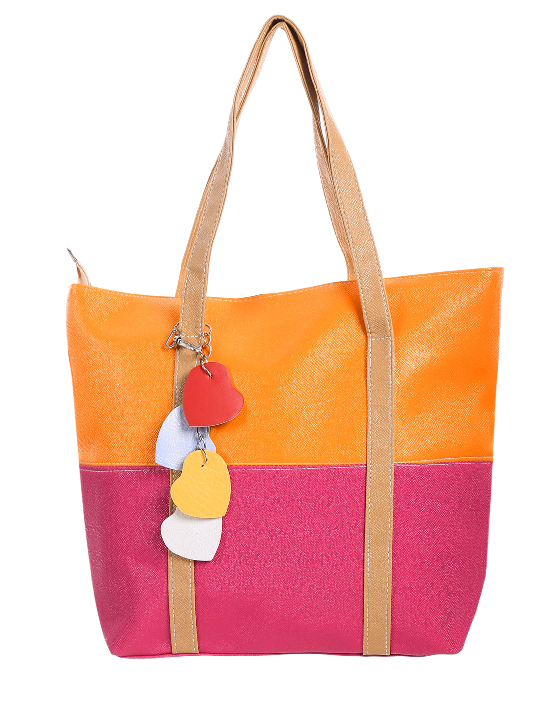 Ladies Dual Handles Color Block Zippered Totes Fuchsia Dark Orange