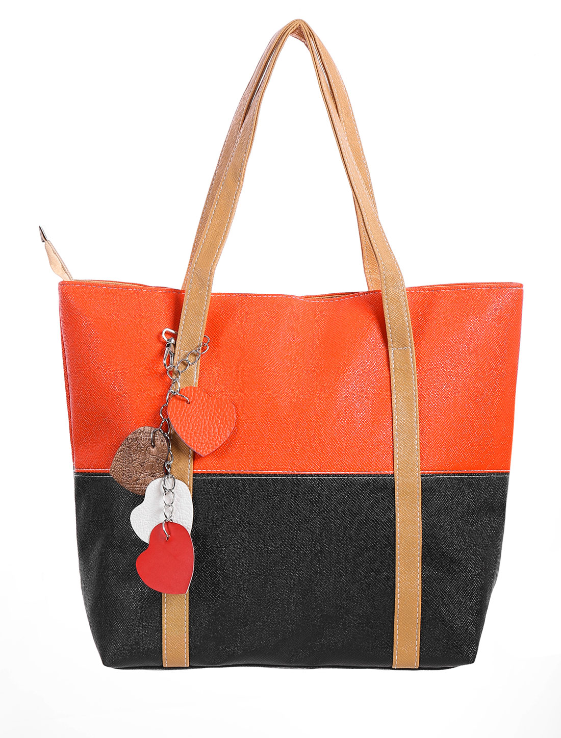 Ladies Zip Closure Color Block Roomy Interior Tote Bags Black Orange Red