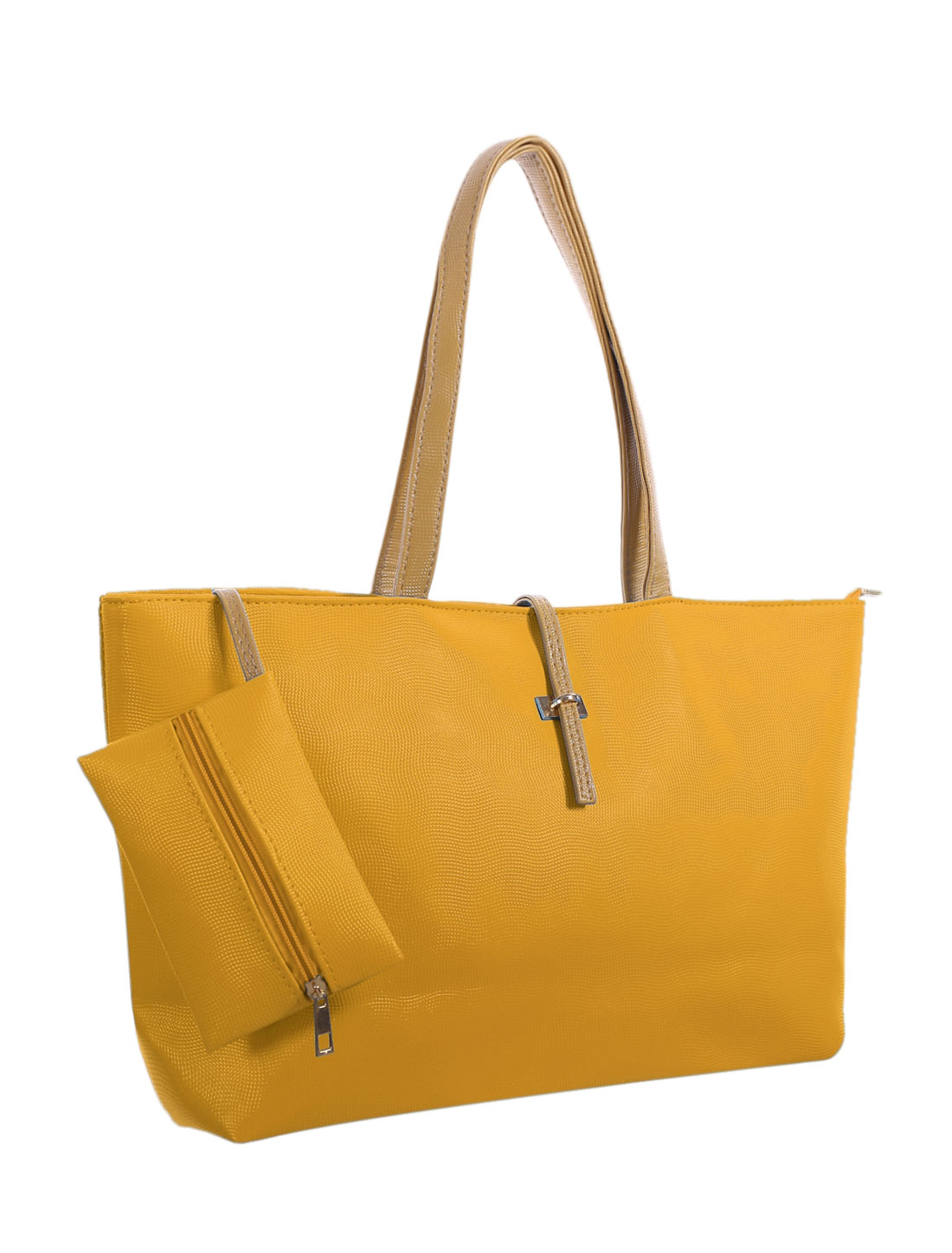 Women Top Handles Textured Faux Leather Fully Lined Tote w Pouch Yellow