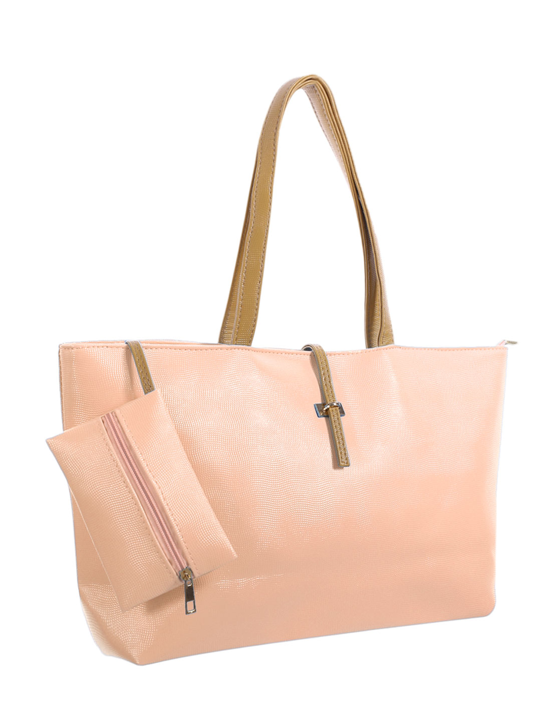 Women Zip Closure Textured Faux Leather Tote w Pouch Light Pink