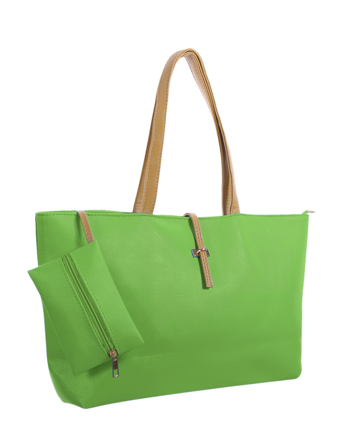 Women Contrast-Colored Handles Textured Faux Leather Tote w Pouch Green