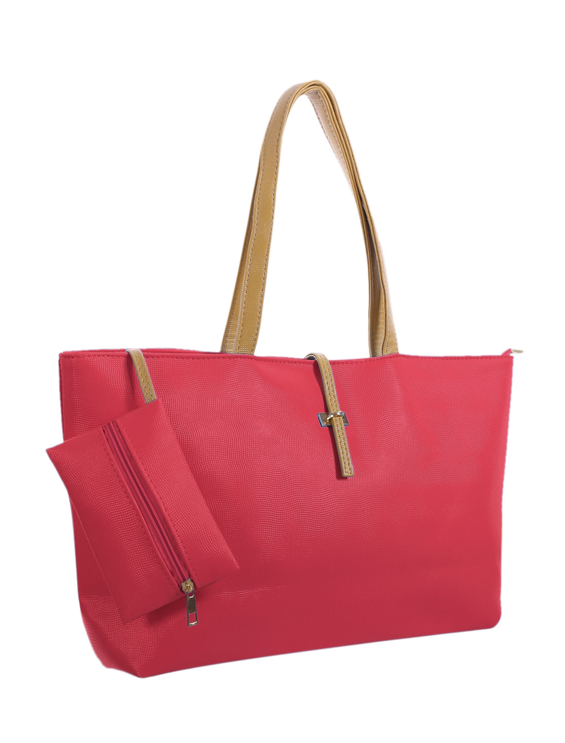 Women Two Top Handles Textured Faux Leather Tote w Pouch Watermelon Red