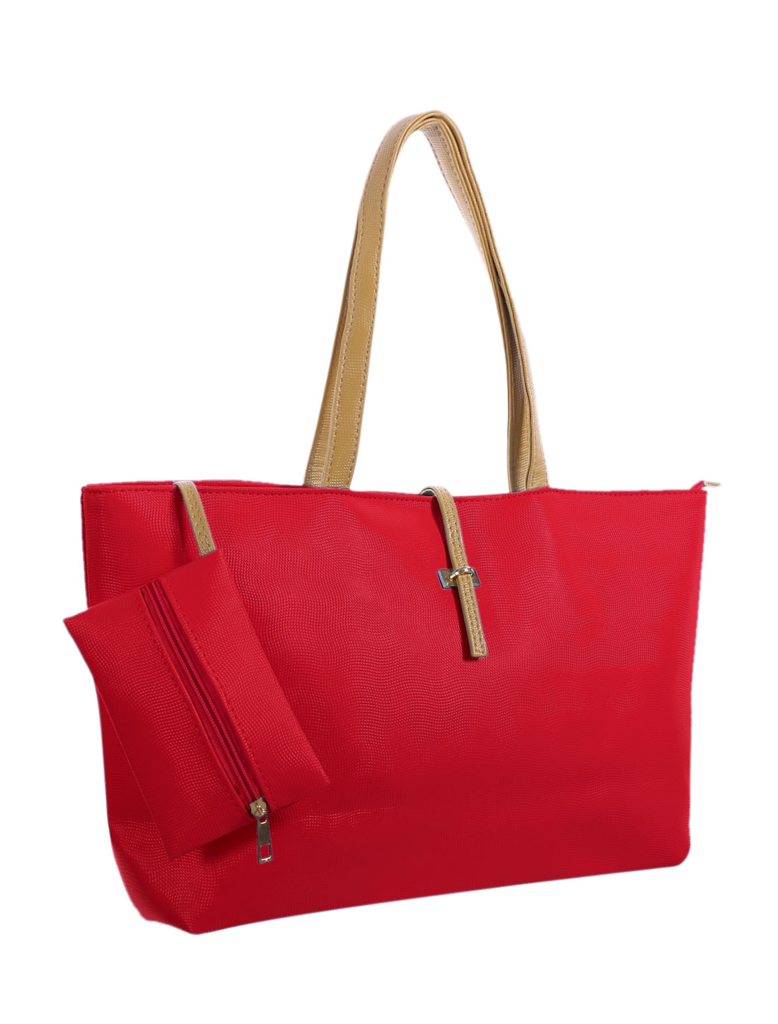Lady Contrast-Colored Handles Faux Leather Tote w Pouch Red