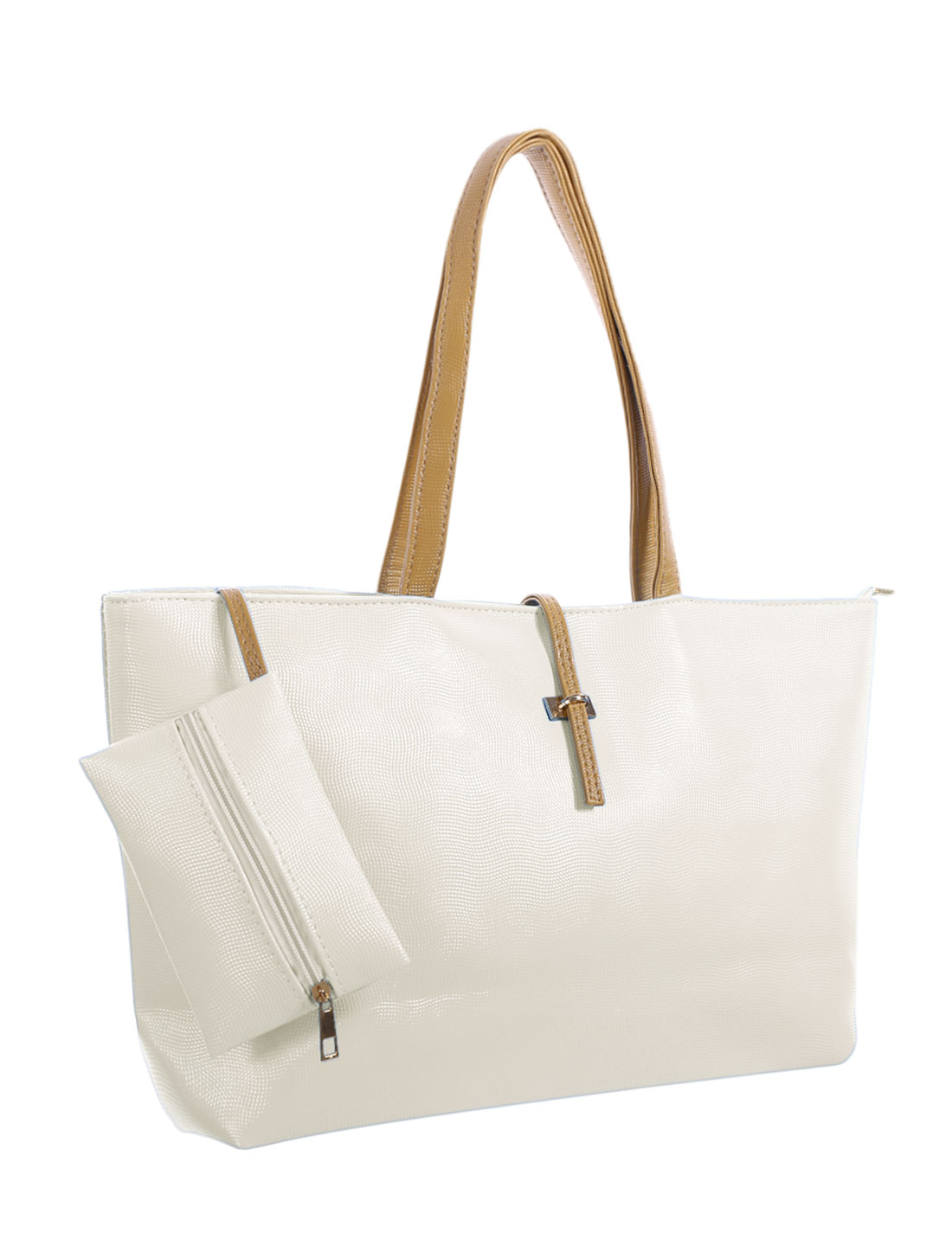 Women Two Contrast-Colored Handles Faux Leather Tote w Pouch White