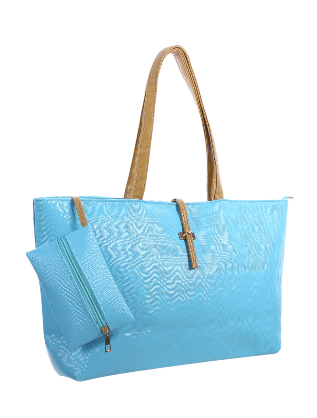 Ladies Two Top Handles Textured Faux Leather Tote w Pouch Light Blue