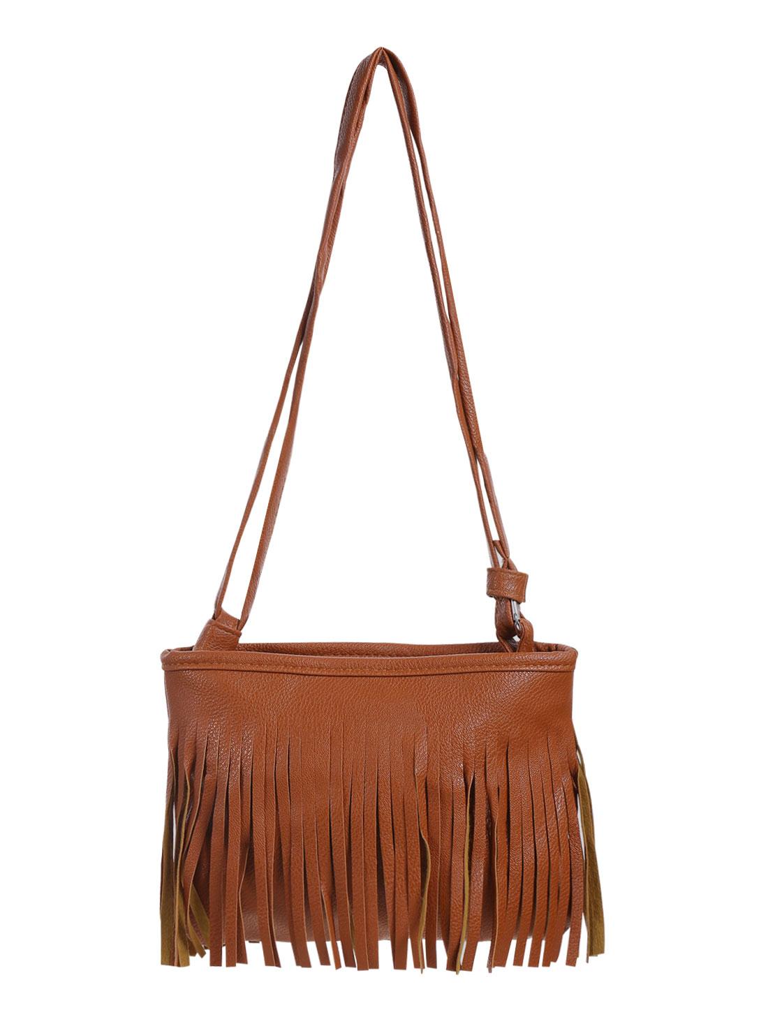 Women Fringed Double Shoulder Straps Zip Closed Messenger Bag Brown