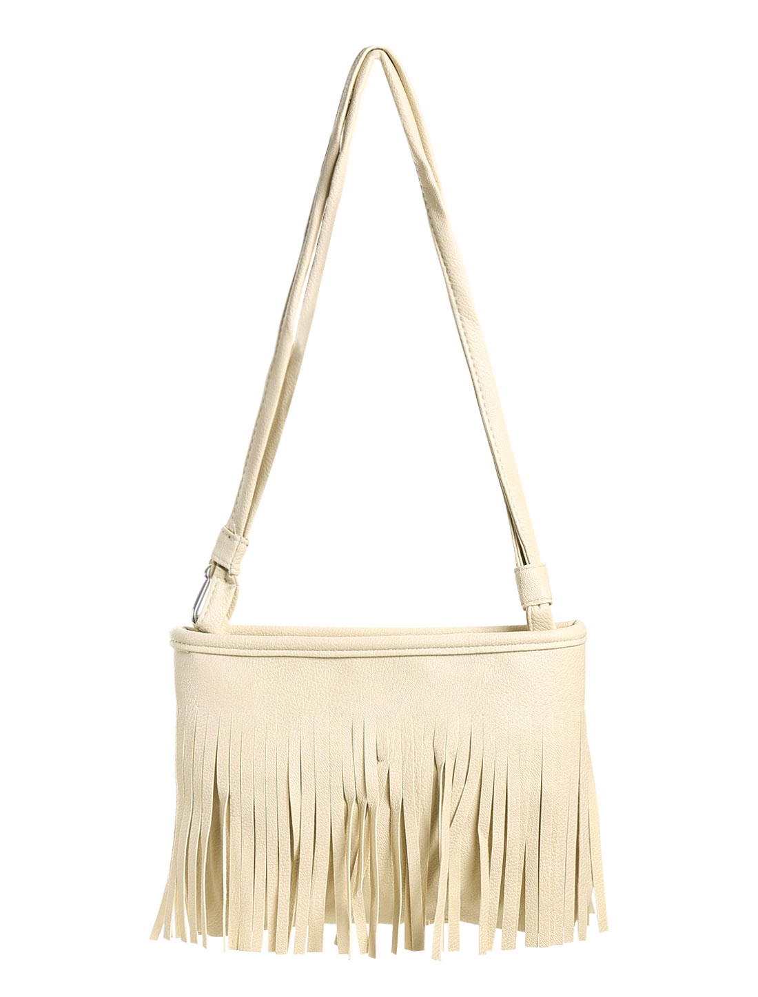 Women Faux Leather Fringed Dual-Shoulder Strap Messenger Bag Cream