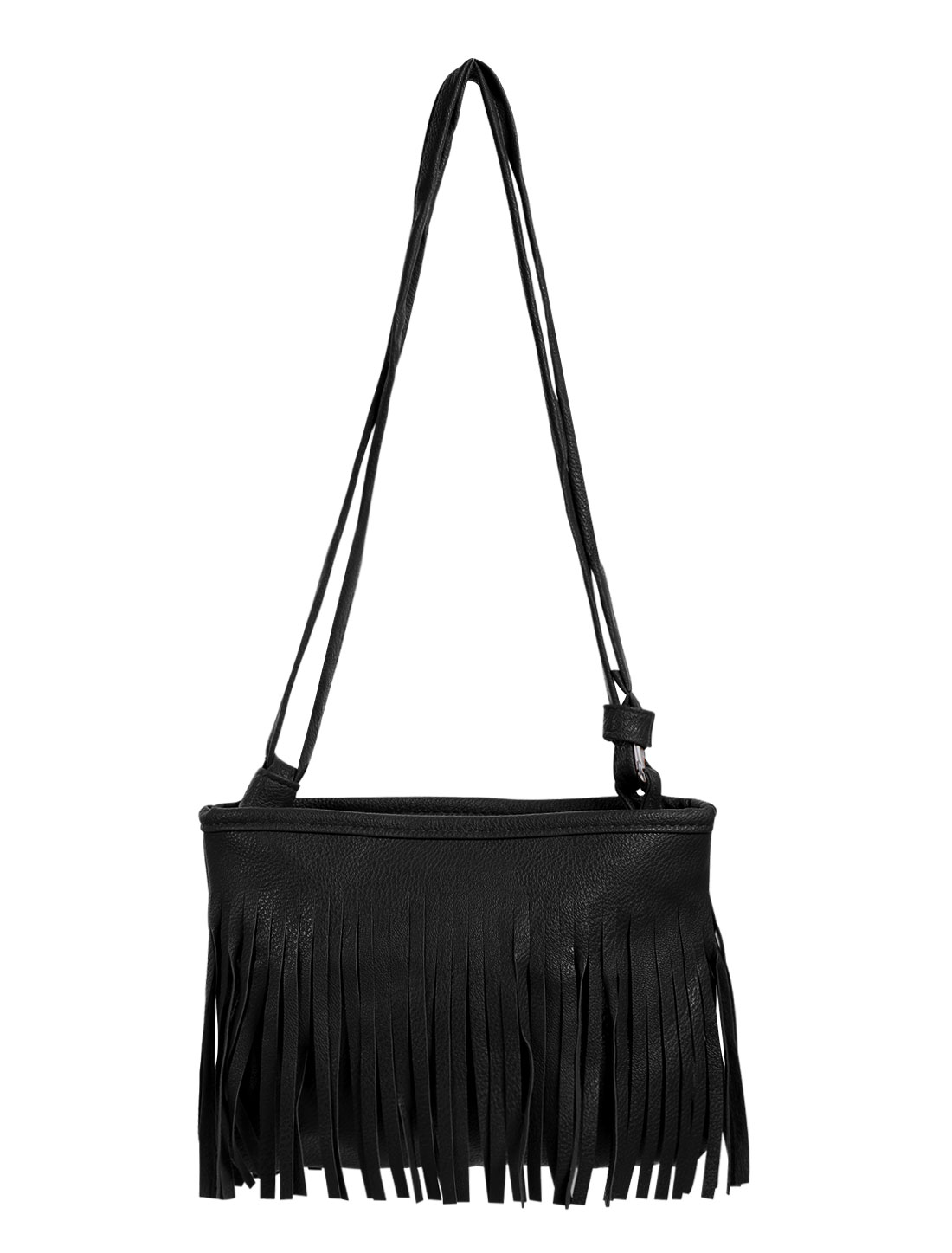 Women Fringed Dual-Shoulder Strap Zip Closure Messenger Bag Black