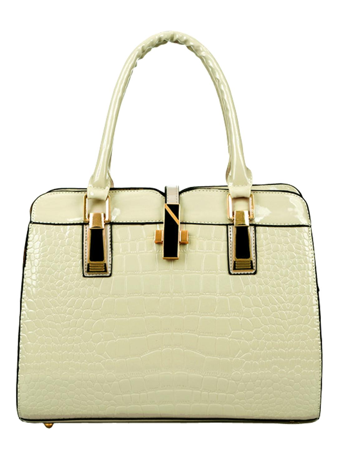 Women Zipper Closure Removable Strap Texture Casual Handbags Beige