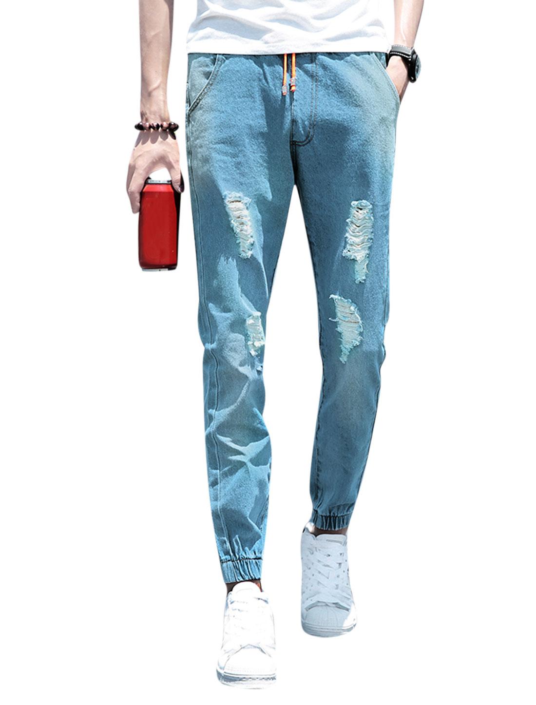 Men Drawstring Waist Destroyed Pockets Slim Fit Jeans Blue W30