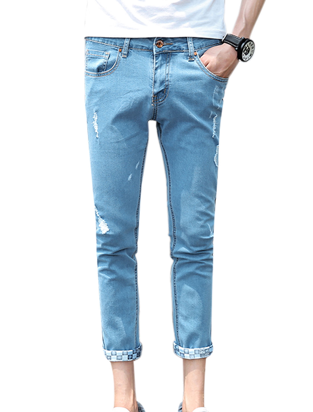 Men Distressed Detail Classic Five Pockets Slim Fit Cropped Jeans Light Blue W30
