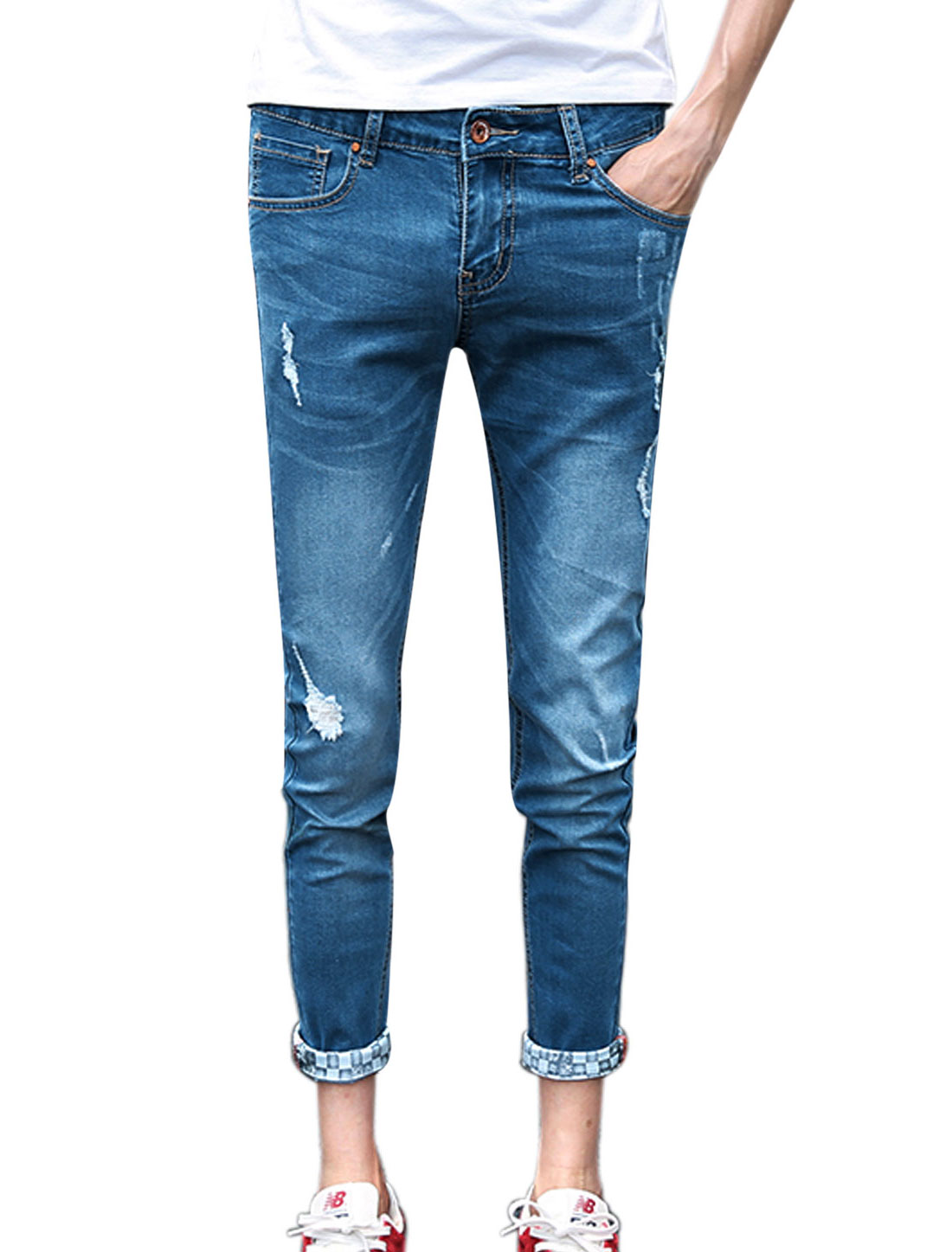 Men Distressed Detail Belt Loop Casual Slim Fit Cropped Jeans Blue W30