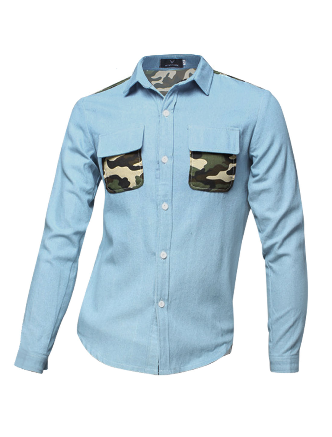 Men Long Sleeves Camouflage Pattern Button Down Denim Shirts Light Blue S